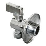 Кран шаровой угловой с обратным клапаном и отражателем 1/2M-3/4M Cr B нар-нар  AQUALINK
