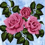"Клеенка на тк/о ПЕРМЬ 1,3х25м ""Роза на стекле"" (голубой)"