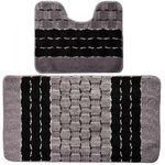 Комплект ковриков для в/к BANYOLIN SILVER из 2 шт 50х80/50х40см 11мм (черный) 1/25