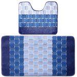 Комплект ковриков для в/к BANYOLIN SILVER из 2 шт 50х80/50х40см 11мм (голубой) 1/25