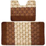 Комплект ковриков для в/к BANYOLIN SILVER из 2 шт 50х80/50х40см 11мм (коричневый) 1/25