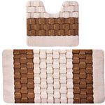 Комплект ковриков для в/к BANYOLIN SILVER из 2 шт 50х80/50х40см 11мм (кремовый) 1/25