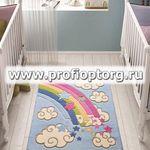 Коврик CONFETTI KIDS из 1 шт 100х150см RAINBOW  (голубой)