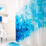 Шторы для ванн полиэстер Tropikhome DIGITAL PRINTED Blue Squares 180х200